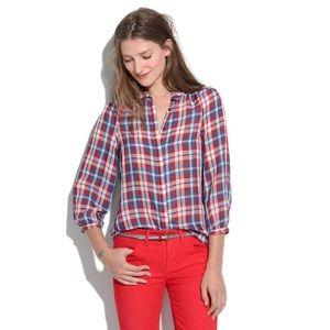 Madewell silk Pemberley blouse in plaid